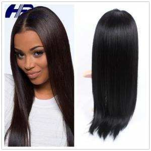 China Black Color Glueless Natural Human Hair Wigs Front Lace Straight For Woman on sale