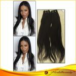 Soft / Silky 24 Remy Human Hair Extensions Weft In Natural Color