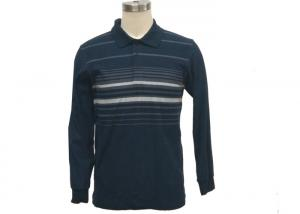 China Soft Mens Pique Polo Shirts , Mens Long Sleeve Polo T Shirts With Flat Knit Collar on sale