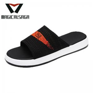 China Hot seling knitted men sandals beach flyknit material open toe slipper uppers on sale
