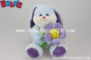 China Blue Valentines Day Gift Bunny Stuffed Animals With Sun Flower on sale
