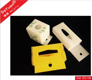 China Hotel Rectangle Recycle Acrylic Tissue Box Holder White Color on sale