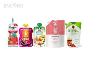 China Reusable Stand Up Spout Pouch Bag Custom Shaped Printed Liquid / Powder Packaging on sale