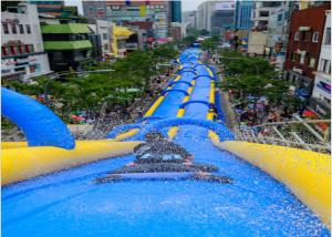 China Large Inflatable Water Slides , PVC Tarpaulin Outdoor Inflatable Slideway For funny on sale