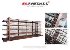 China Metal Retail Store Display Shelves With Wire Mesh Back Panel for Shop Decoration on sale