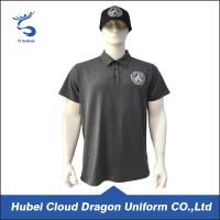 China 120 Gsm Bright Black Custom Security Polo Shirts , Short Sleeve Polo Shirt on sale