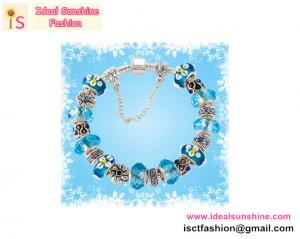 China 925 sterling Silver charm  European beads Bracelet beads jewelry blue beads with flower on sale