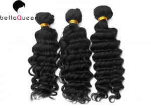 China Brazilian Virgin Human Hair, Natural Black Deep Wave Hair Weft Of 100 Gram on sale