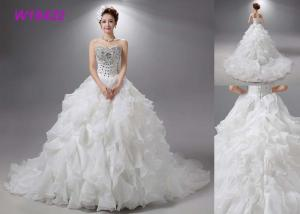China Champange Casual Bridal Ball Gowns Tulle With Crystal Beads Floor Length 80-90 Cm on sale
