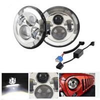 China Emark Approved 47W 7inch Round LED Headlight High Low Beam 7 Fog Light led angle eye without halo on sale
