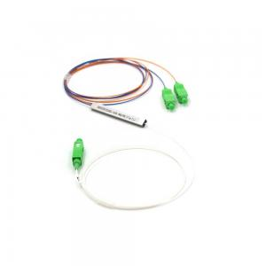 China FTTH Fiber Optic Splitter 1 In 2 Out  0.9mm G657A1 SC APC Low Insertion Loss on sale