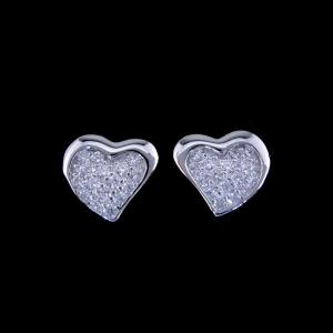 China Heart Shape Silver Cubic Zirconia Earrings / S925 Plating White Gold Earrings For Lady on sale