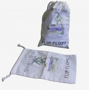 China Natrual Color Custom String Drawing Cotton Bag Heat Transfer Printing For Sandal on sale
