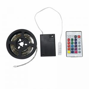 China 50-200cm Waterproof 4.5V 5050 RGB LED Strip Light Battery Powered + 24key Remote on sale