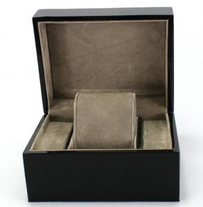 China Piano Paint Matte MDF Wooden Jewelry Box Grey Interior With Removable Cushions on sale