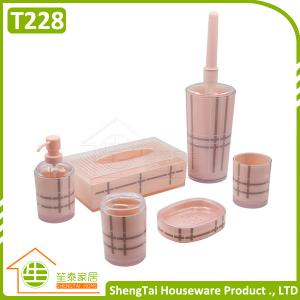 China UK Fashion Grid Pattern Plastic Bathroom Accessory Set For Christmas Gift on sale