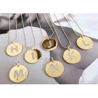 Letter S Made of Crystal Jewelry Shinny Gold Disc Necklace 107