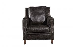 China Industrial Loft High Back OX Leather Armchair With Solid Hardwood Frame on sale