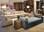 Elegant Wood Fabric Hotel Sofa Set High Back Couch / Chair For Lobby