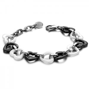 China Heart ceramic bracelet with stainless steel chain on sale