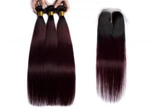 China 1B / 99J Color Straight Human Hair Weave 3 Bundles With 4X4 Lace Closure on sale