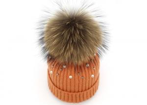 China Elastic Womens Knit Beanie With Fur Pom Pom , Lovely Warmest Beanie Hat In Snow Days on sale