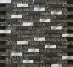 300x300mm glass and marble mosaic tile,aluminum strip mosaic,black color
