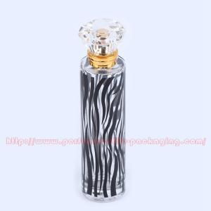 China 100ml Silkscreen Glass Perfume Bottle Packaging 15mm Gold Perfume Pump With Surlyn Cap on sale