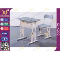 Grey Adjustable Classroom Desk And Chairs For Nigeria Ghana / Educational Furniture