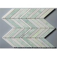 "Ming Green Stone Mosaic Floor Tile Chevron Shape Mosaics 4"" Chips"
