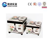 China PU Leather Printing Wooden Ottoman/ Stool/Storage Box/ Trunk on sale
