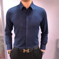 Top Quality Armarni self-cultivation plaid shirt Men Long Sleeve Shirts Plaid Cotton Casual Men Shirt Social Plus CLS001
