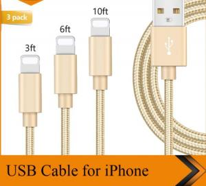 China 3FT 6FT 10FT USB Data Cable IPhone Charger Cord 1m 1.8m 3m Length Customized on sale