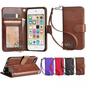 China pu leather wallet case for ipod touch 6 with wrist strap,OEM and ODM welcome on sale