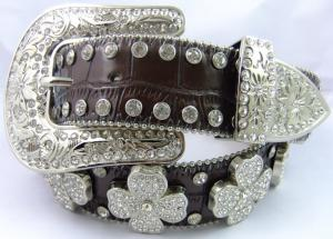 China western bling crystal belts with flower concho on sale