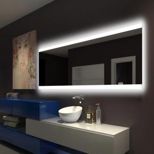 China Illuminated Square LED Bathroom Mirror With Radio Backlit Lighted Vanity Mirror Wall Mount on sale