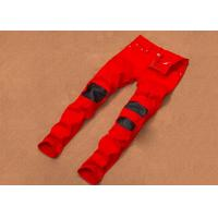 Breathable Red Distressed Jeans Mens Plain Dyed 28-36 Size Korean Style