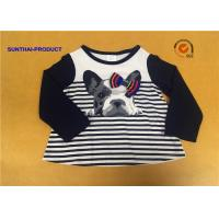 Cute Baby Girl Long Sleeve Tops , Crew Neck 3D Bow Childrens Plain T Shirts