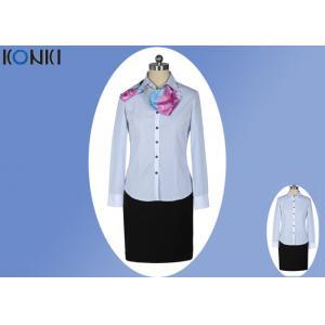 China La oficina corporativa moderna uniforma señoras/la camisa azul y blanca de la raya on sale