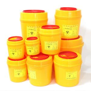 China Medical Sharps Disposal Container Waterproof Round PVC Plastic Box Sharps on sale