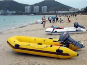 China Crazy Yellow Inflatable Motor Boat for beach water sports on sale