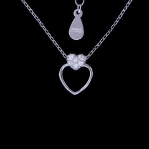 China Girls Two Heart Diamond Necklace / Real 925 Silver Zirconia Necklace on sale