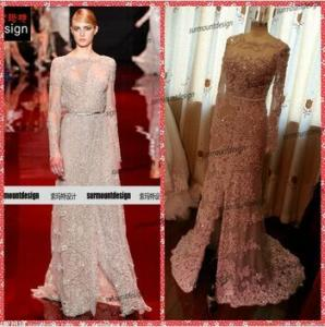China Surmount Real Sample Long Sleeve Lace Beaded Floor Length Fabric Elie Saab Dresses for Sale on sale