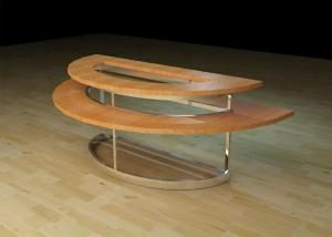 Quality Two Layer Wooden Round Retail Display Tables , Modern Style Clothing Display for sale