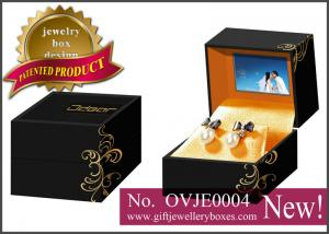 China Black flower printed Gift Jewellery Boxes, square packaging earrings box with video for earrings on sale