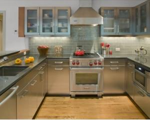 Integrated U Shape Stainless Steel Kitchen Cabinets With Grey