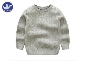 China Bamboo Joint Boys Knit Pullover Sweater Round Neck Grey Color Customized Size on sale