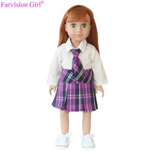 China Hot sale 18 inch girl fashion cloth vinyl doll baby soft toy purple Japanese school uniforms on sale