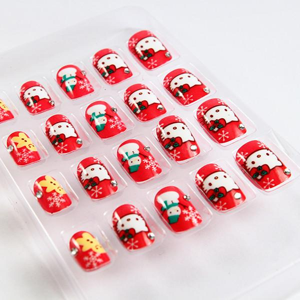 hello kitty christmas fake nails for little girls 3d nail tips images
