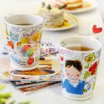 Cute European Style Personalized Ceramic Coffee Mugs 500ml Warm For Couple